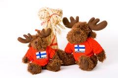 słomy zabawka reniferowa zabawka tradycyjni dwa Obrazy Royalty Free