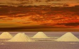 Słone Jeziora Boliwia w zmierzchu Zdjęcie Royalty Free