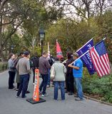 Confederate Flag, Trump Supporters, Washington Square Park, NYC, NY, USA. It`s almost one year after the historic election of Donald Trump as the 45th President Royalty Free Stock Photo