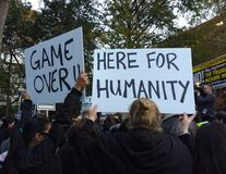 Game Over, Here For Humanity, Anti-Trump Rally, Washington Square Park, NYC, NY, USA Royalty Free Stock Images