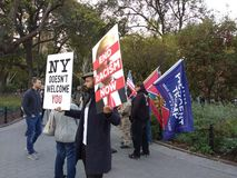 Racism in Washington Square Park, NYC, NY, USA. It`s almost one year after the historic election of Donald Trump as the 45th President of the United States of Royalty Free Stock Images
