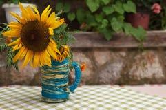 Słonecznik w wazie na stole Obrazy Stock