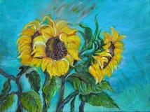 Słoneczniki, akrylowy obraz Fotografia Stock
