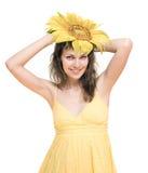 słonecznikowa kobieta Obraz Royalty Free