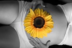 słonecznikowa kobieta Obrazy Stock