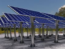 Słoneczny gospodarstwo rolne z panel słoneczny Zdjęcie Stock