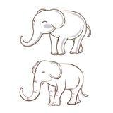 2 słoni kreskówka Fotografia Royalty Free