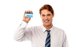 It's our new gold credit card ! stock photography