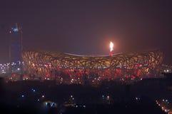 s'ouvrir de Jeux Olympiques de point culminant de feux d'artifice de cerem de Pékin Photos libres de droits
