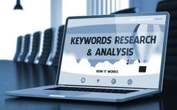 Słowa kluczowe badanie i analiza na laptopu ekranie - 3d Ilustracji