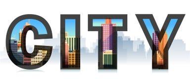 Słowa miasto z, grodzka sylwetka Typograficzne ilustracje Znak, szablon, logo Obrazy Royalty Free