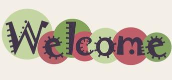 Słowa powitanie dla twój projekta Wektorowy sztandar z kolorowym fu Zdjęcie Royalty Free