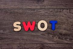 Słowa Swot od drewnianych listów Zdjęcia Royalty Free