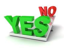 Słowa Tak i Nie na balansowych skala Obrazy Stock