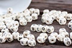Słowo blog na starym drewnianym stole Obrazy Royalty Free