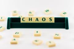 Słowo chaos w zbiorniku zdjęcia royalty free