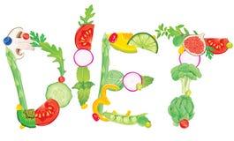 Słowo dieta od jedzenia Obrazy Royalty Free