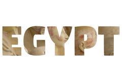 Słowo EGIPT nad symbolicznymi miejscami Zdjęcie Stock