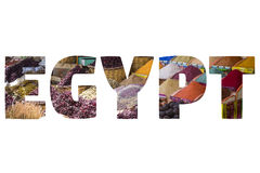 Słowo EGIPT nad symbolicznymi miejscami Zdjęcia Stock