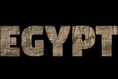 Słowo EGIPT nad symbolicznymi miejscami Fotografia Royalty Free