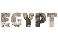 Słowo EGIPT nad symbolicznymi miejscami Obraz Stock