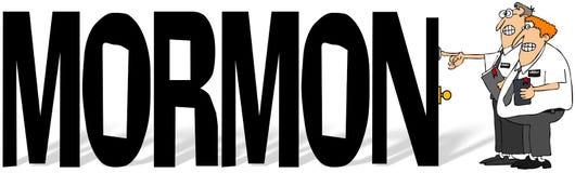 Słowo mormon z dwa LDS misjonarzami Zdjęcie Royalty Free