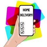 S?owo pisze tekstowi Domowej dostawie Biznesowy pojęcie dla aktu brać towary lub pakuneczek bezpośrednio klienta zbliżenie do dom royalty ilustracja