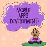 Słowo pisze tekstowi Mobilnym Apps rozwoju Biznesowy pojęcie dla procesu rozwijać mobilnego app dla cyfrowego przyrządu dziecka o ilustracja wektor