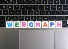 Słowo Webgraph na klawiaturowym tle Obrazy Royalty Free