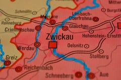Słowo ZWICKAU na mapie Obraz Stock