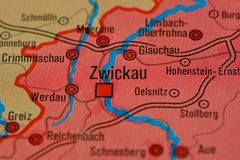 Słowo ZWICKAU na mapie Zdjęcia Stock