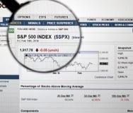 S&P 500 rynku papierów wartościowych wskaźnik Zdjęcia Stock