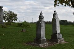 1800`s pair of gravestones in a country graveyard royalty free stock image