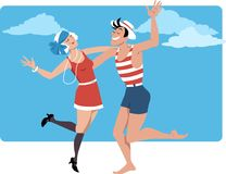 1920s party on the beach. Couple dressed in 1920s style swim suits dancing thew Charleston on the beach, EPS 8 vector illustration Royalty Free Stock Images