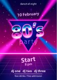 80s party design template. With text on triangle and laser beams. Use for flyer, banner, poster, invitation. Retro vintage style. Vector illustration Royalty Free Stock Image