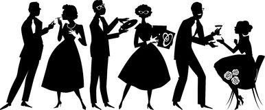 1950s party goers. Vector silhouette of people dressed in 1950s fashion at the party, socializing, no white objects, black only royalty free illustration