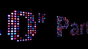 80`s party led text isolated on black.  vector illustration