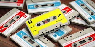 Vintage audio cassettes on wooden background, 3d illustration. 1970s-1980s party music. Vintage audio cassettes on wooden background, 3d illustration vector illustration