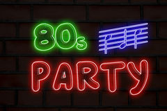 80s party neon lights. 80s party words made with neon lights on dark bricks background stock images