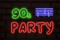 90s party neon lights Stock Photo