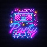 80s Party Neon Sign Vector. Back to the 80`s neon design template, modern trend design, night signboard, night bright royalty free illustration