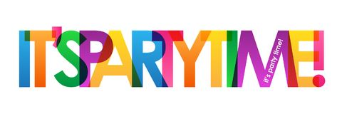 IT`S PARTY TIME! colorful overlapping letters banner. Vector. Rainbow palette vector illustration