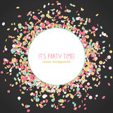 It's Party Time! poster. Colorful confetti frame. It's Party Time! poster. Colorful confetti frame with copy space. Contrast colors. Dark background. Round Stock Photo