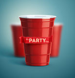 It's Party Time. Red cups, it's party time Stock Photography