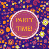 It`s Party time! Vector seamless pattern with hand drawn Doodle elements. Festive background for birthday party. Stock Image