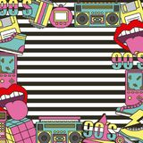 The 90s patches fashion poster frame decoration stripes background. Vector illustration Stock Photography