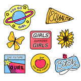 90s patches with feminism slogans. You go girl. The future is ours. Girls support girls. Eve was framed. sign with rose. 80s style pin design royalty free illustration