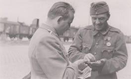 S00003 photo militaire Hongrie de la gare ferroviaire WWII photos libres de droits