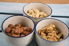 Some mixed nuts. S photo of mixed nuts royalty free stock photography