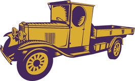 1920s Pick-up Truck Woodcut. Illustration of a vintage 1920s Pick-up Truck viewed from side on isolated background done in retro woodcut style Royalty Free Illustration